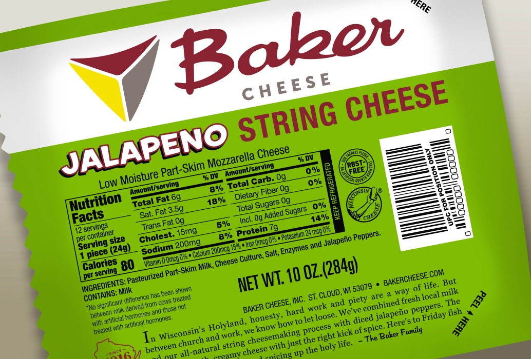 Baker Cheese Company Jalapeno String Cheese